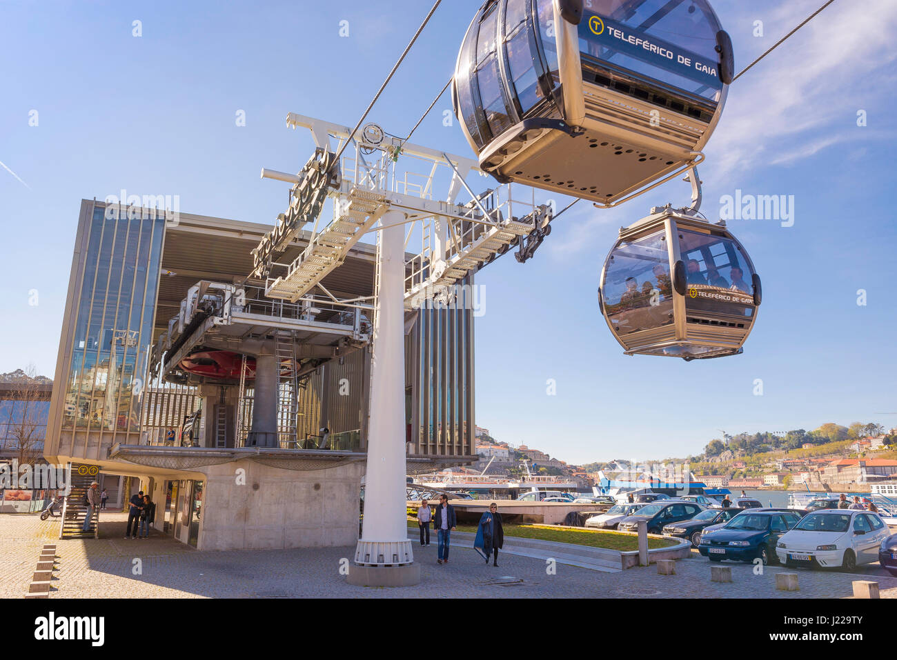 Cable Automotive Oklahoma City : Cable car porto portugal cars enter and exit a