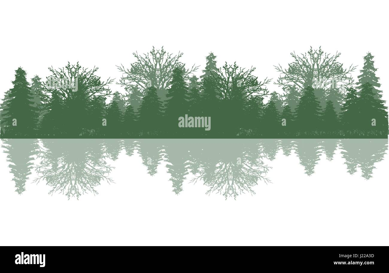 Reflection wood and tree - Stock Vector