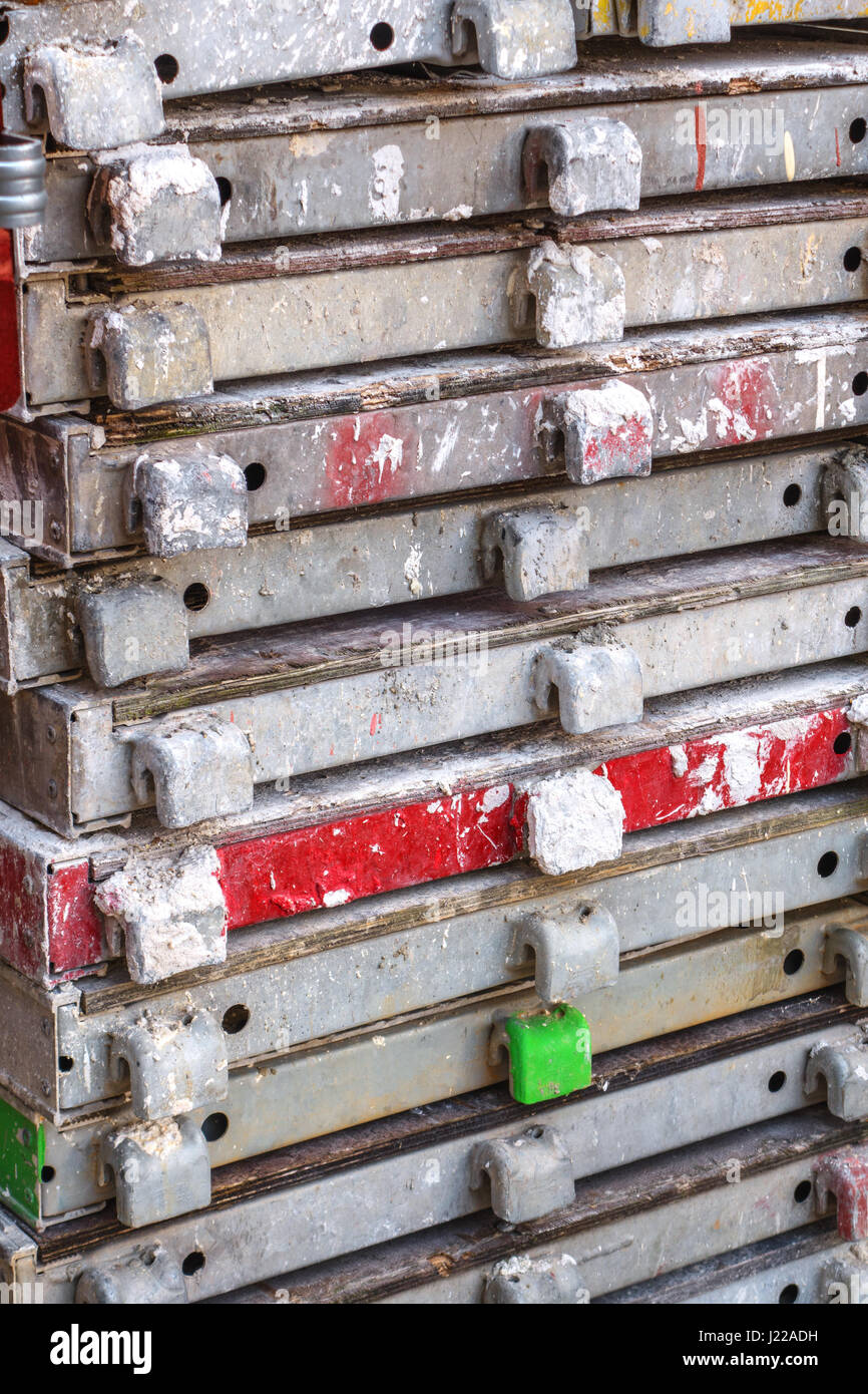 Stacked scaffolding decks - Stock Image