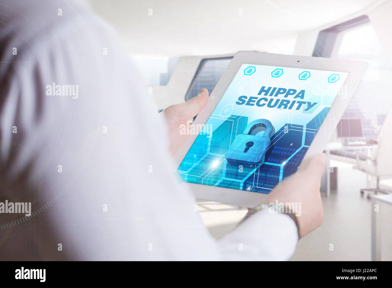 Business, Technology, Internet and network concept. Young business man, working on the tablet of the future, select - Stock Image