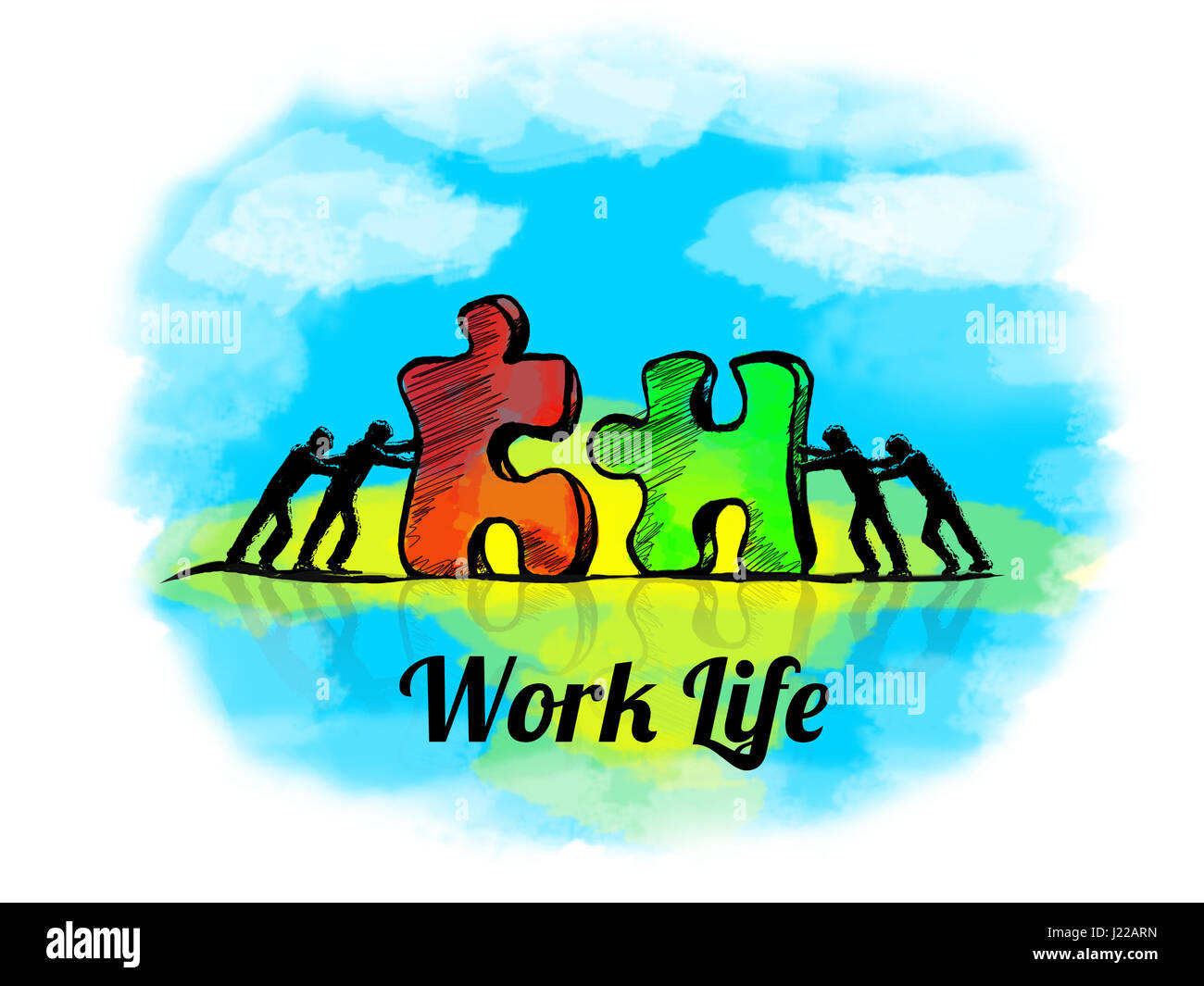 Illustration.Business concept of teamwork with jigsaw puzzle. Work Live - Stock Image