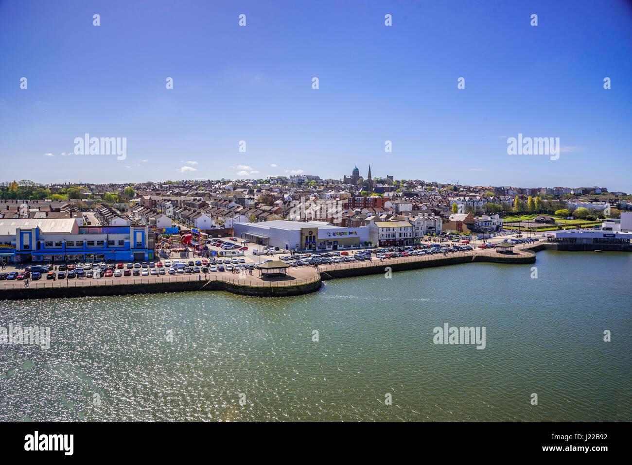 New Brighton marine lake and waterfront. - Stock Image