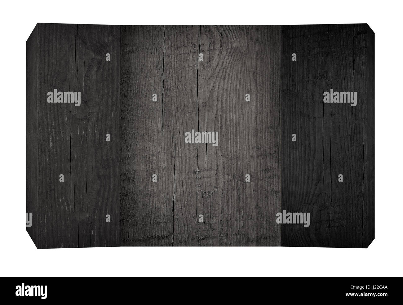 Black wooden planks and board with copy space - Stock Image