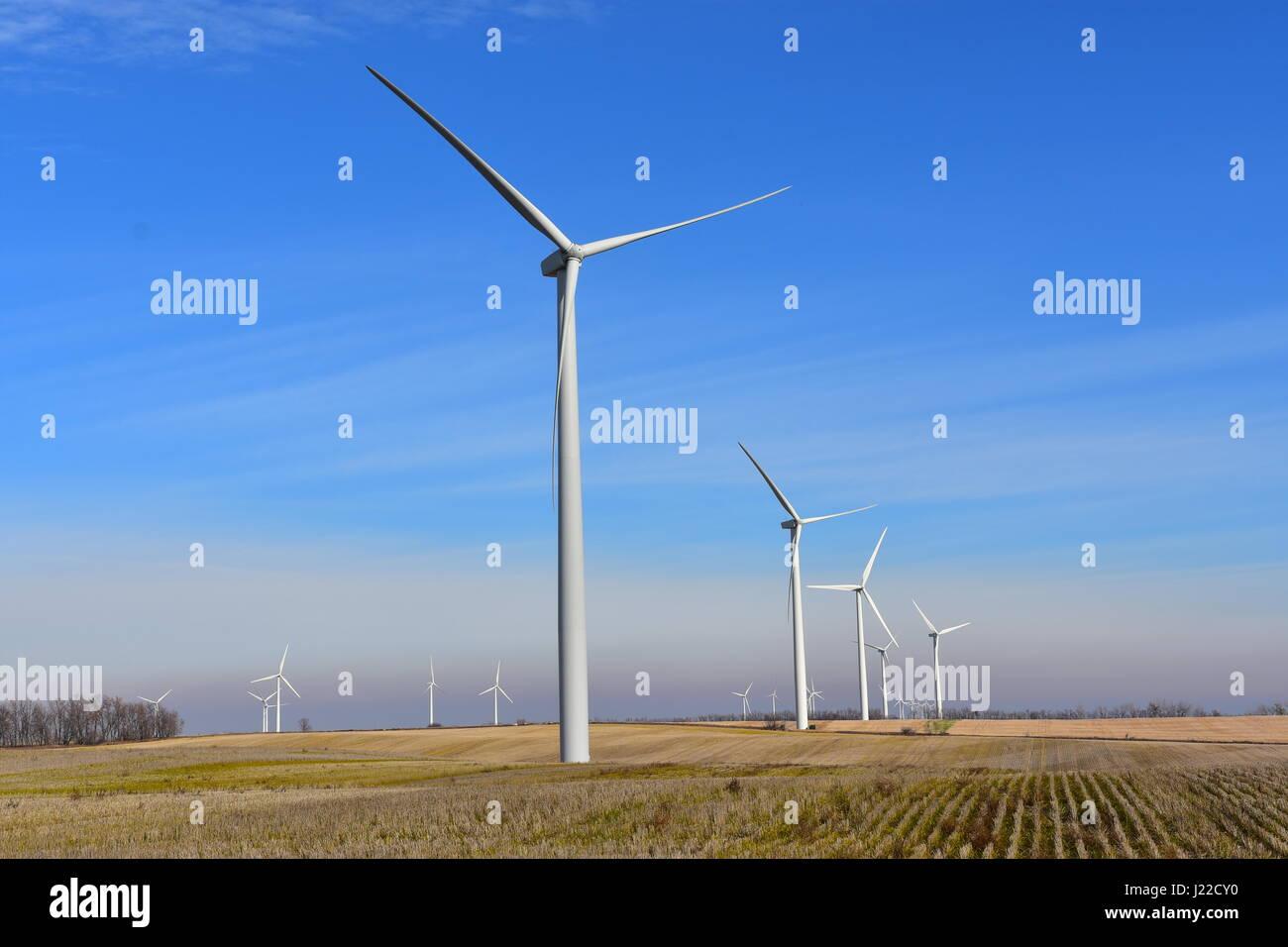 Wind turbines generating clean renewable energy. - Stock Image