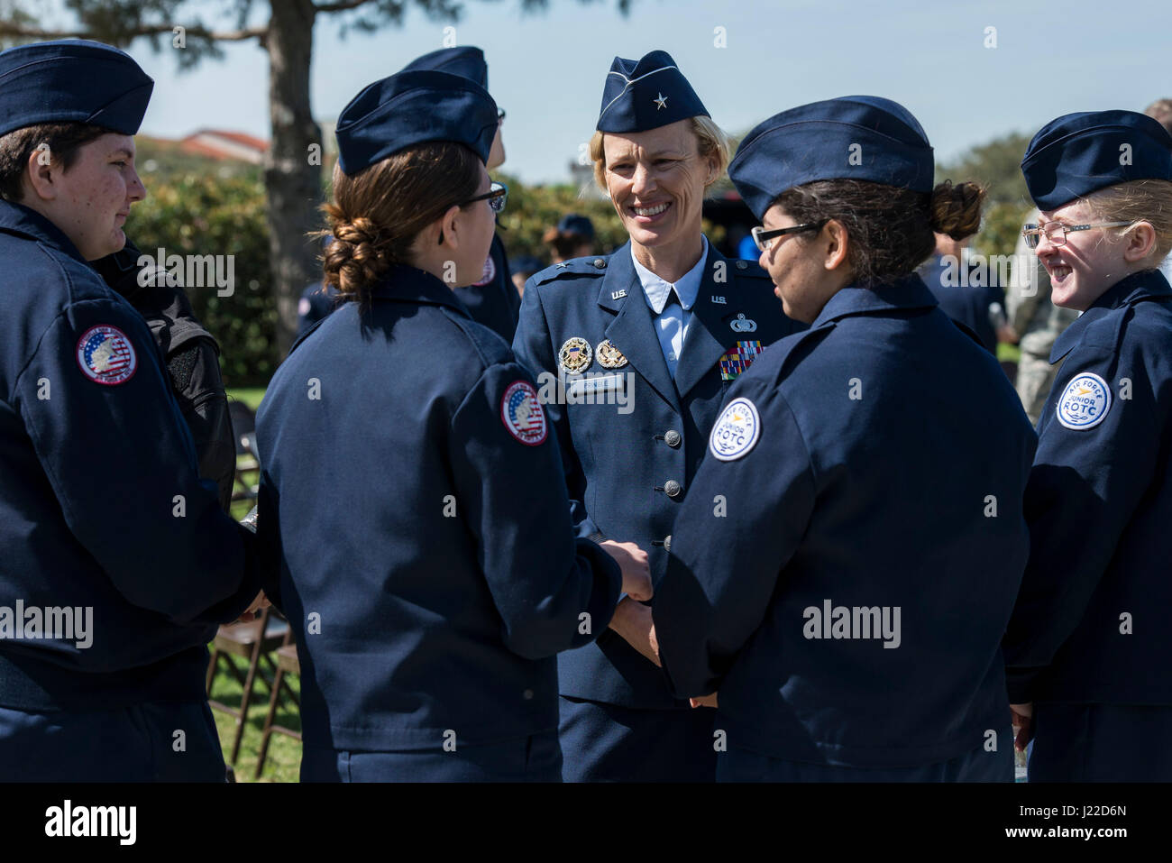 U.S. Air Force Brig. Gen. Heather Pringle, 502nd Air Base Wing and Joint Base San Antonio commander, speaks to Floresville - Stock Image