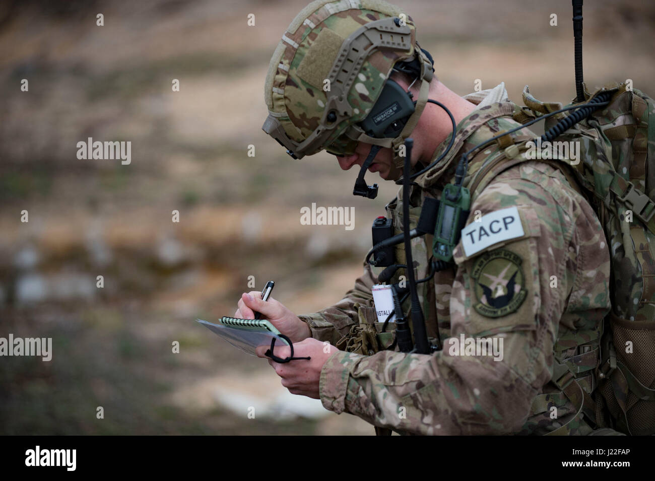 us air force senior airman brandon malinowski 19th air support operations squadron tactical air control party specialist records coordinates during a