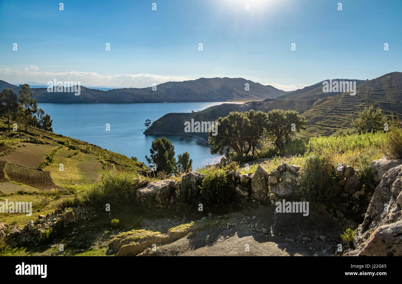 Isla del Sol on Titicaca Lake - Bolivia - Stock Image