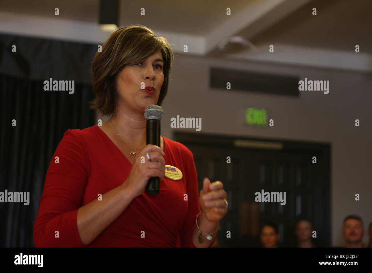 Maria Lengerke, the Marine Corps Air Station Miramar family readiness branch head, speaks to this year's volunteers Stock Photo
