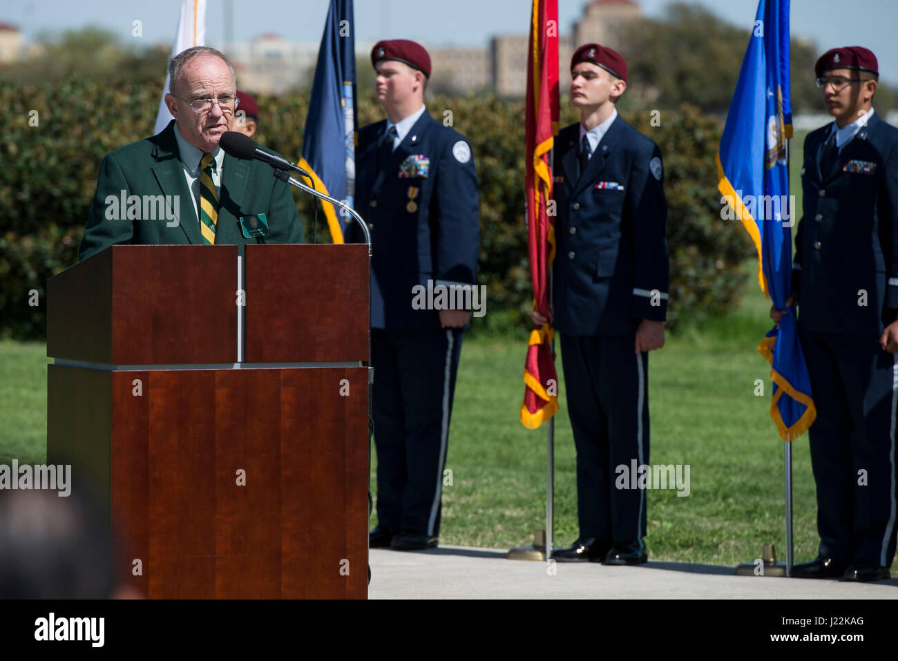 Retired U.S. Air Force Col. Howard Ham, speaks during a ceremony celebrating the anniversary of the first flight - Stock Image