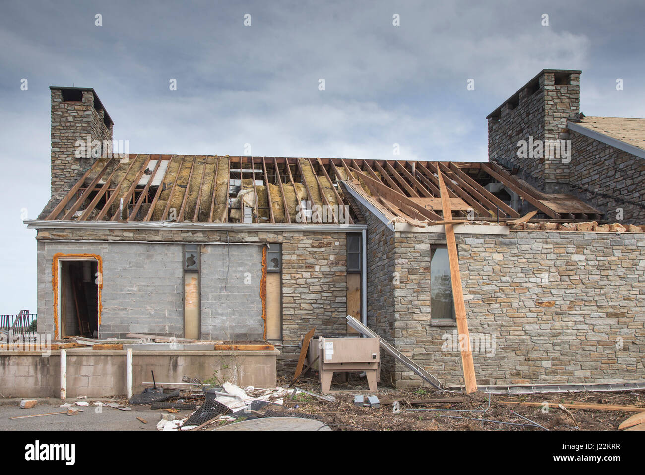 House being demolished in Ramsey, New Jersey - Stock Image