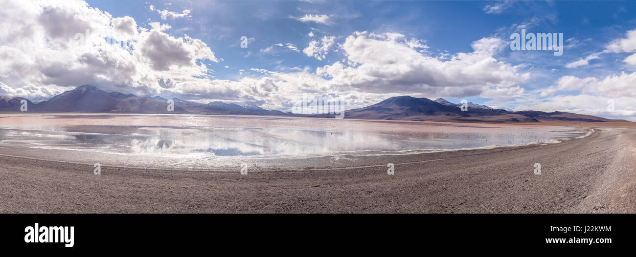 Panoramic view of Laguna Colorada (Red Lagoon) in Bolivean altiplano - Potosi Department, Bolivia - Stock Image