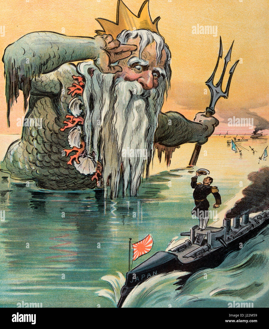 The old salt salutes - Illustration shows Neptune, the Roman god of the sea, saluting a Japanese admiral on a gunboat, - Stock Image