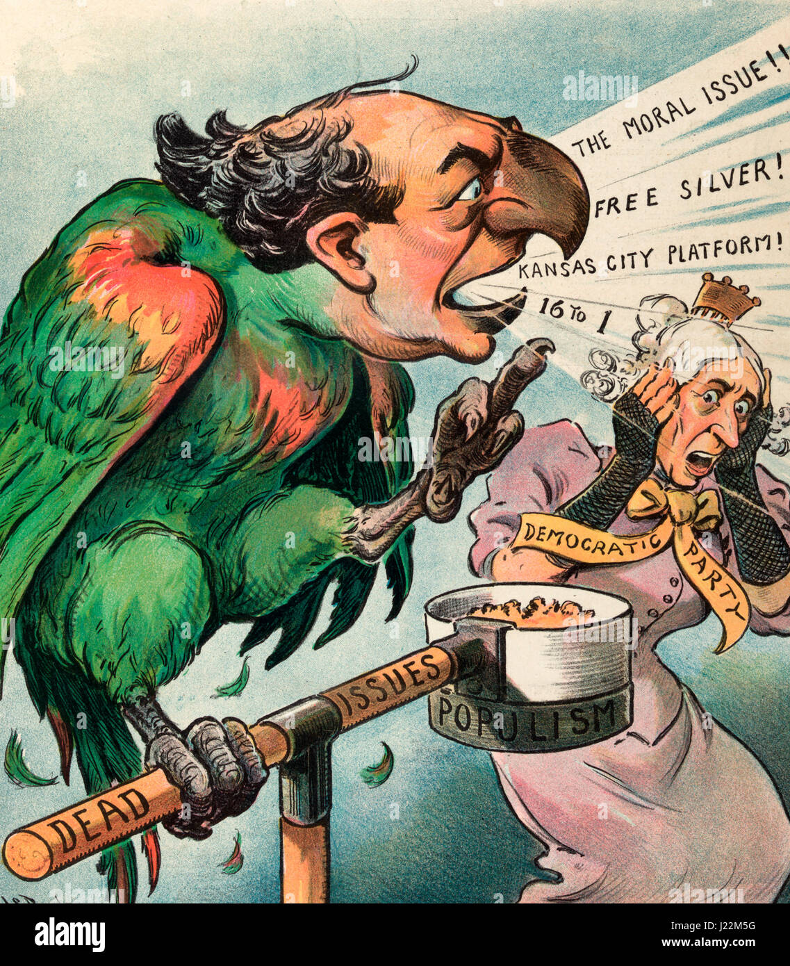 A chattering nuisance - Illustration shows William Jennings Bryan as a parrot 'chattering' at an old woman - Stock Image