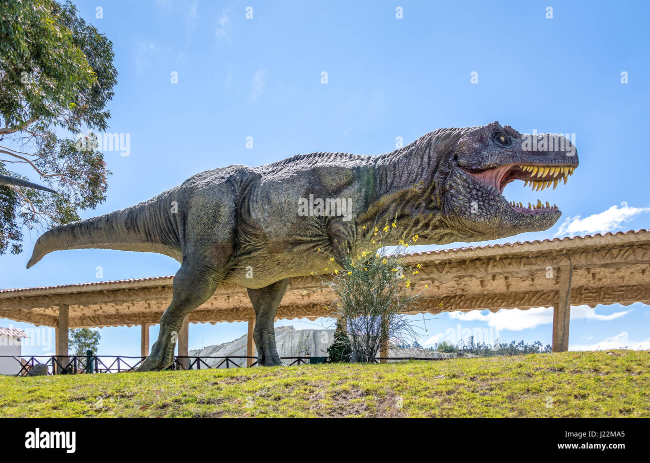 Dinosaur Model in Cretaceous Park of Cal Orcko - Sucre, Bolivia - Stock Image