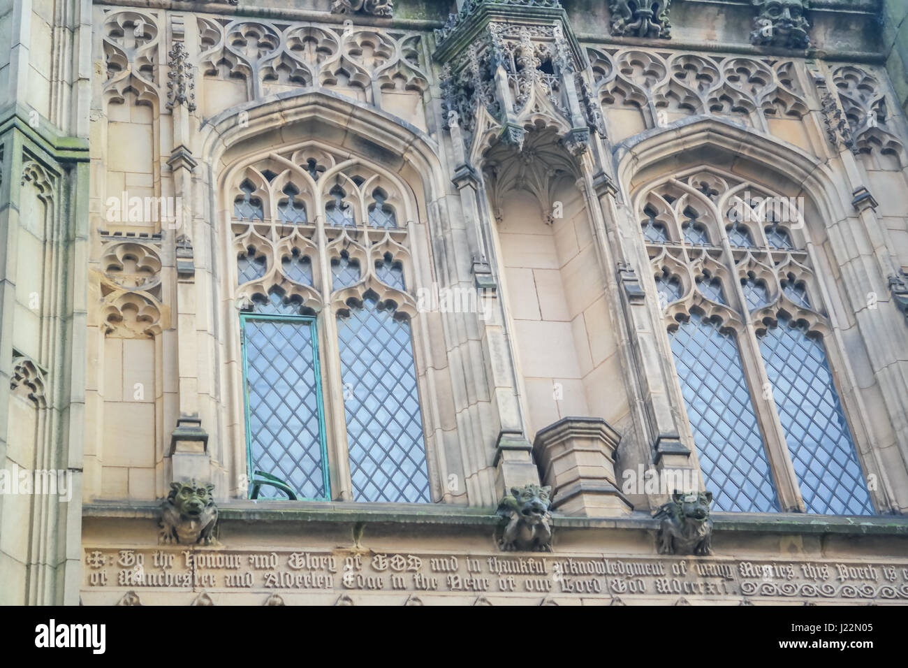 Windows decoration of the famous Manchester Cathedral in England, UK. Gothic windows design - Stock Image