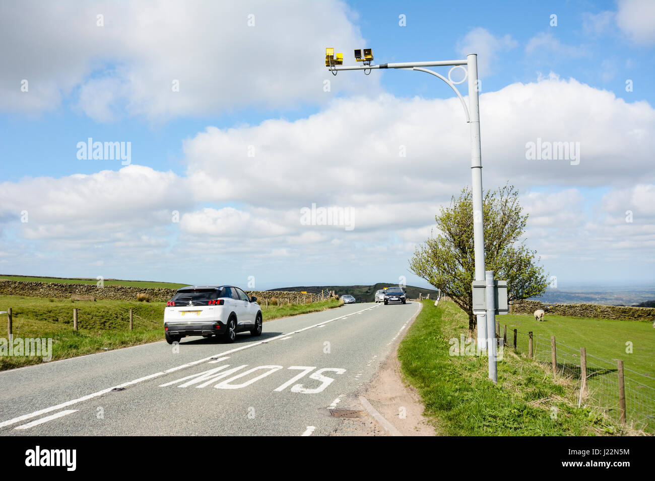 Average speed camera on the  A527 Macclesfield to Buxton Road through the pennines in the Peak District National - Stock Image