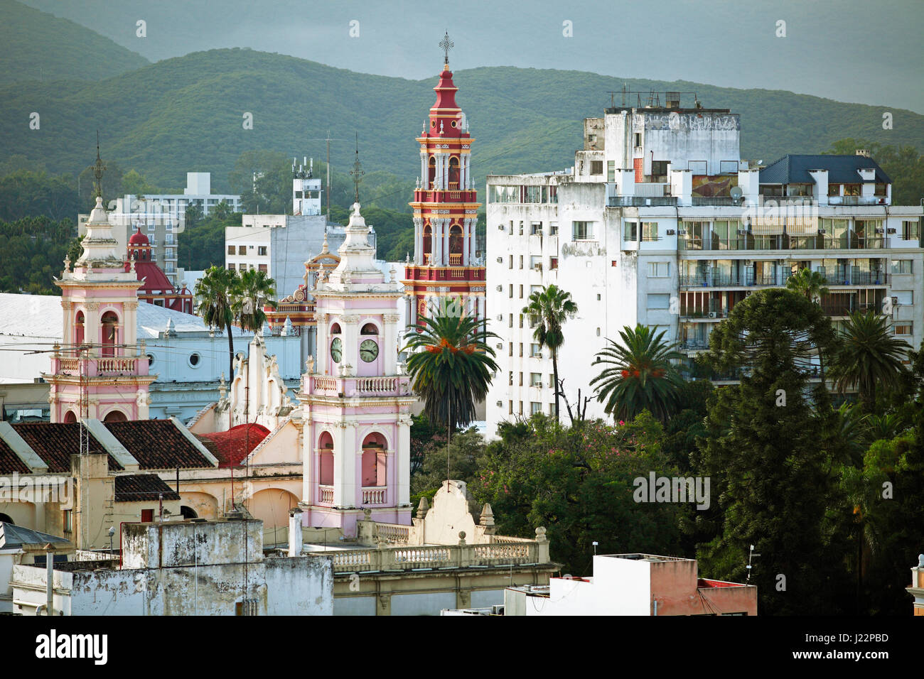 Cityscape with Cathedral and Iglesia San Francisco, Salta, Salta province, Argentina - Stock Image