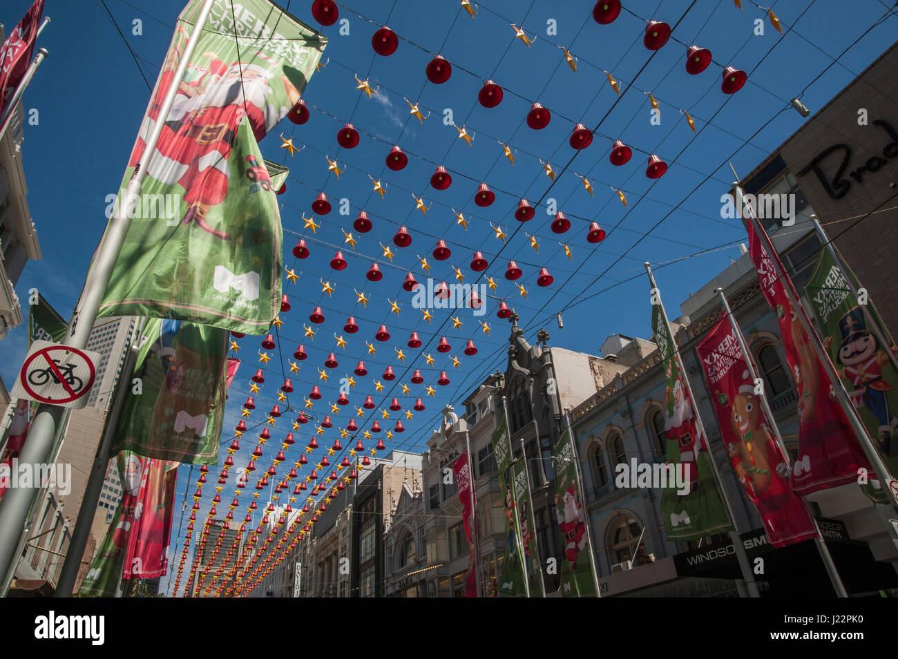 Christmas Decorations On Bourke Street Melbourne Victoria Australia