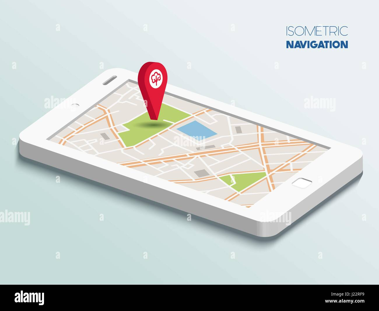Isometric smartphone with map - Stock Image