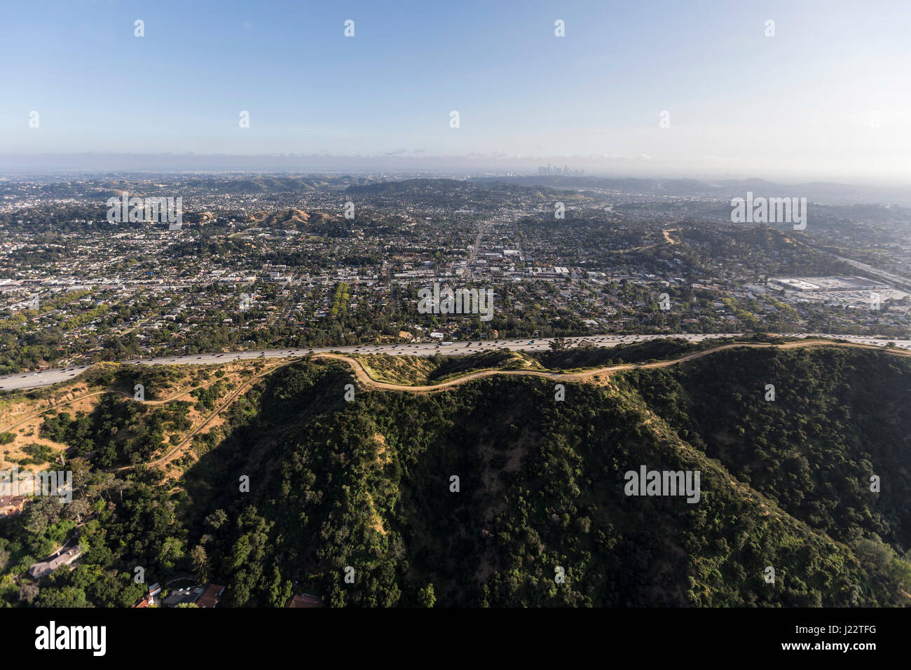 Aerial view of Eagle Rock in northeast Los Angeles, California. - Stock Image
