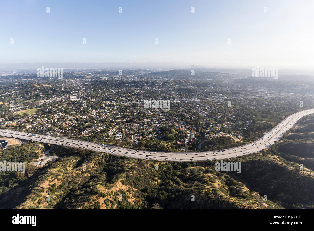 Aerial view of the Eagle Rock neighborhood and Ventura 134 Freeway in Los Angeles, California. - Stock Image