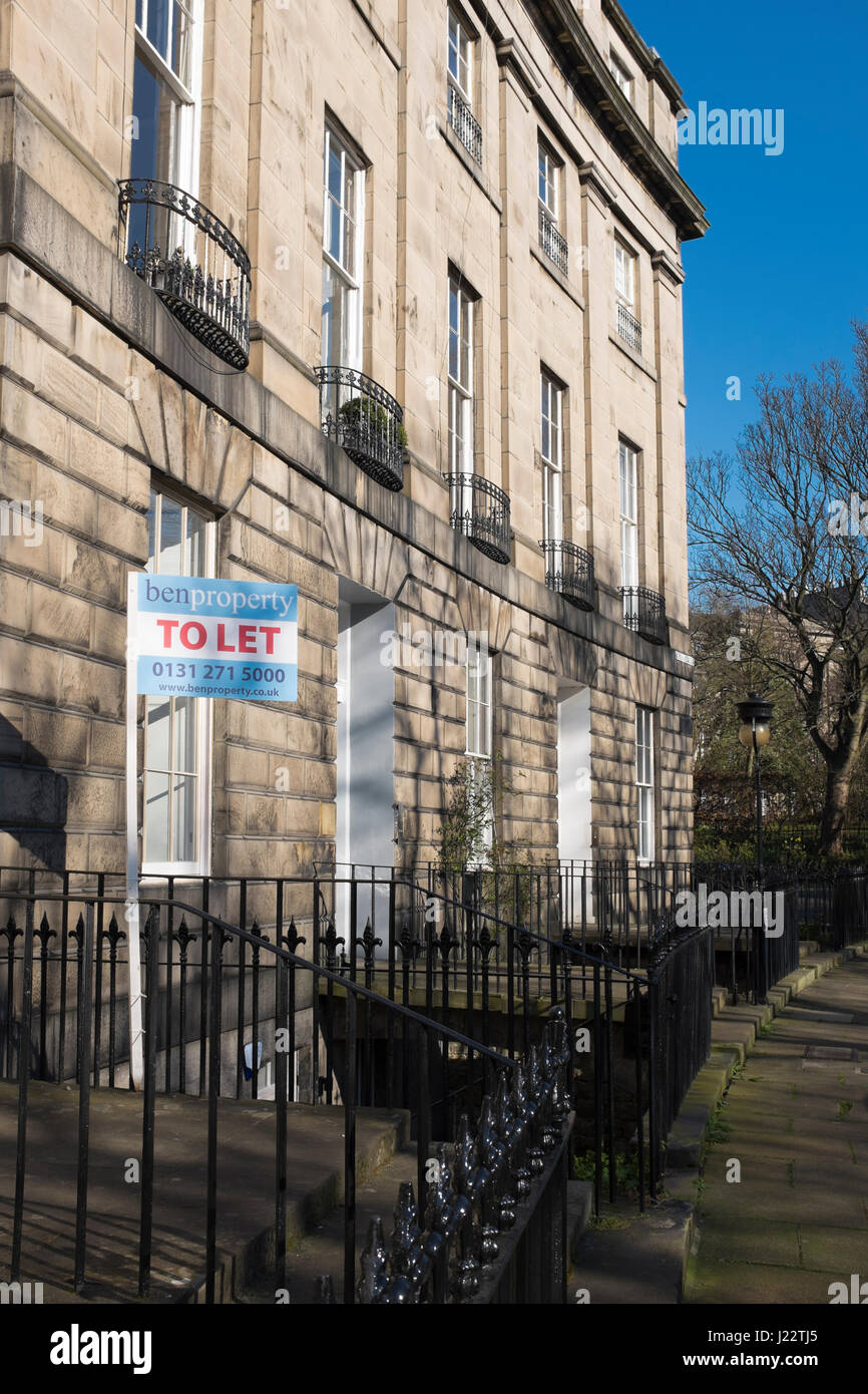 Letting agents board outside a property to let, in Royal Circus, Edinburgh. - Stock Image