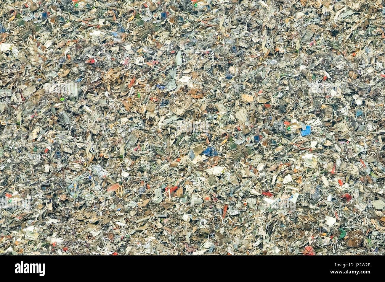 massive pile of decomposing landfill garbage - no visible trademarks - Stock Image