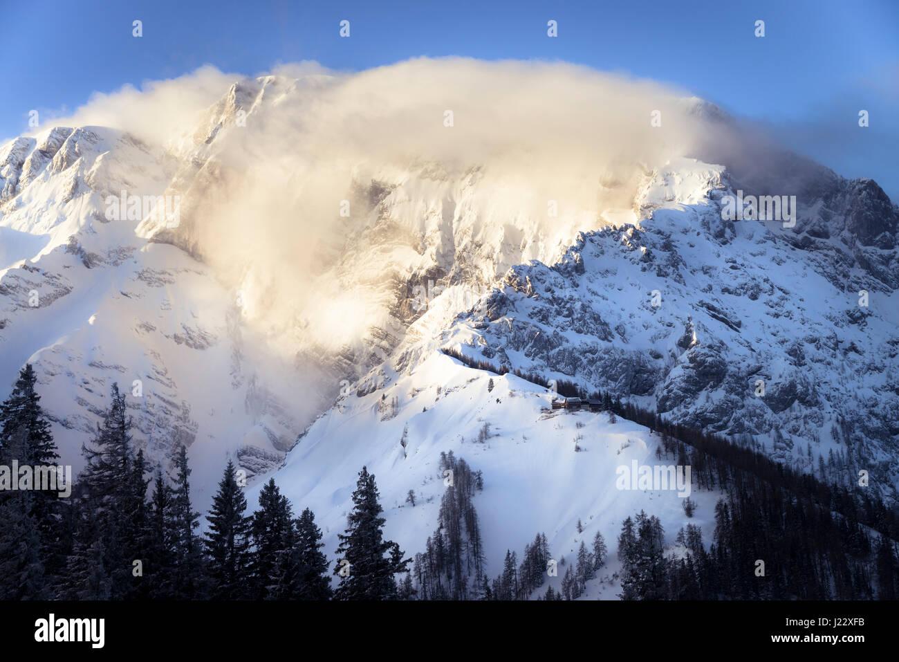 Germany, Bavaria, Berchtesgaden, Purtschellerhaus on Hoher Goell at sunrise Stock Photo