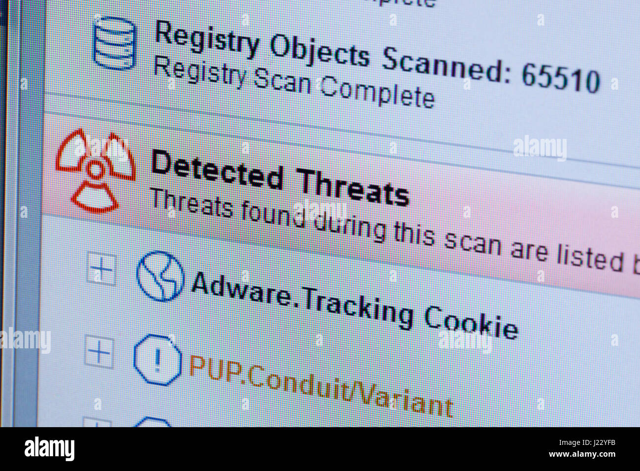 Adware / Malware scanner result on computer screen - USA - Stock Image