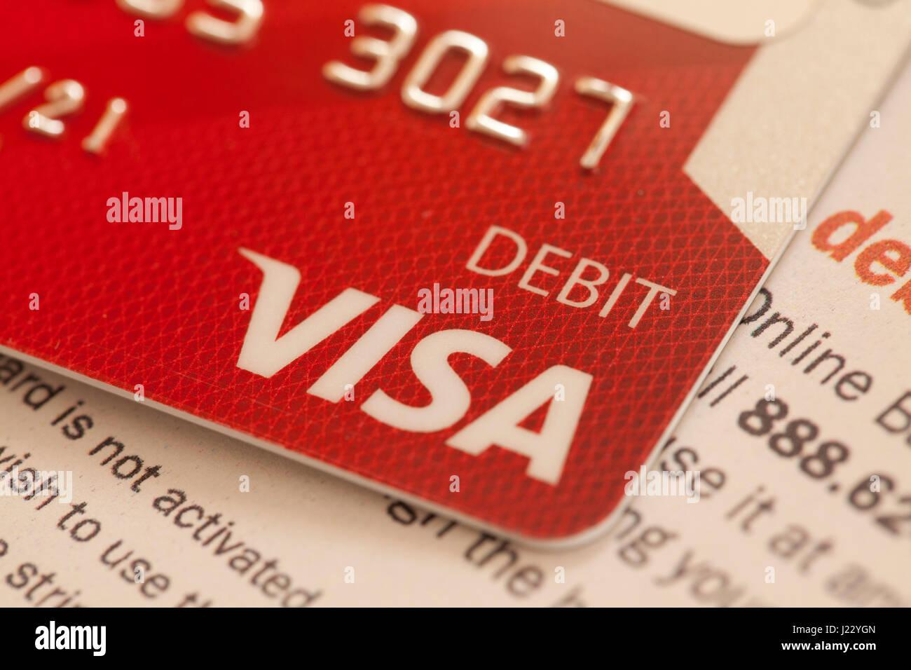 Visa Debit card - UsA - Stock Image