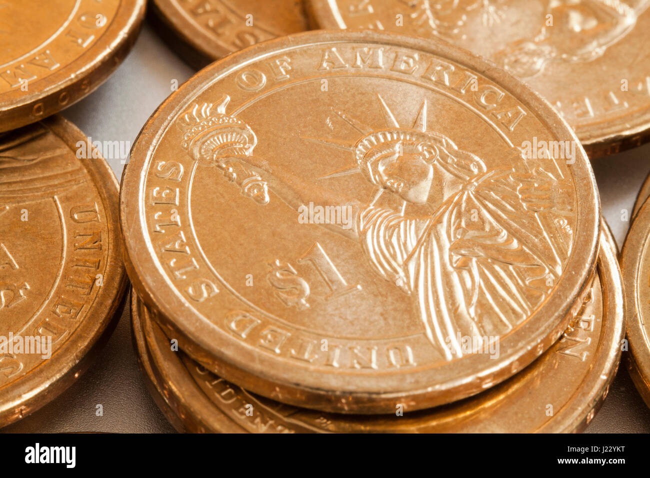 Presidential 1 dollar coin (US $1 coins reverse view) - USA - Stock Image