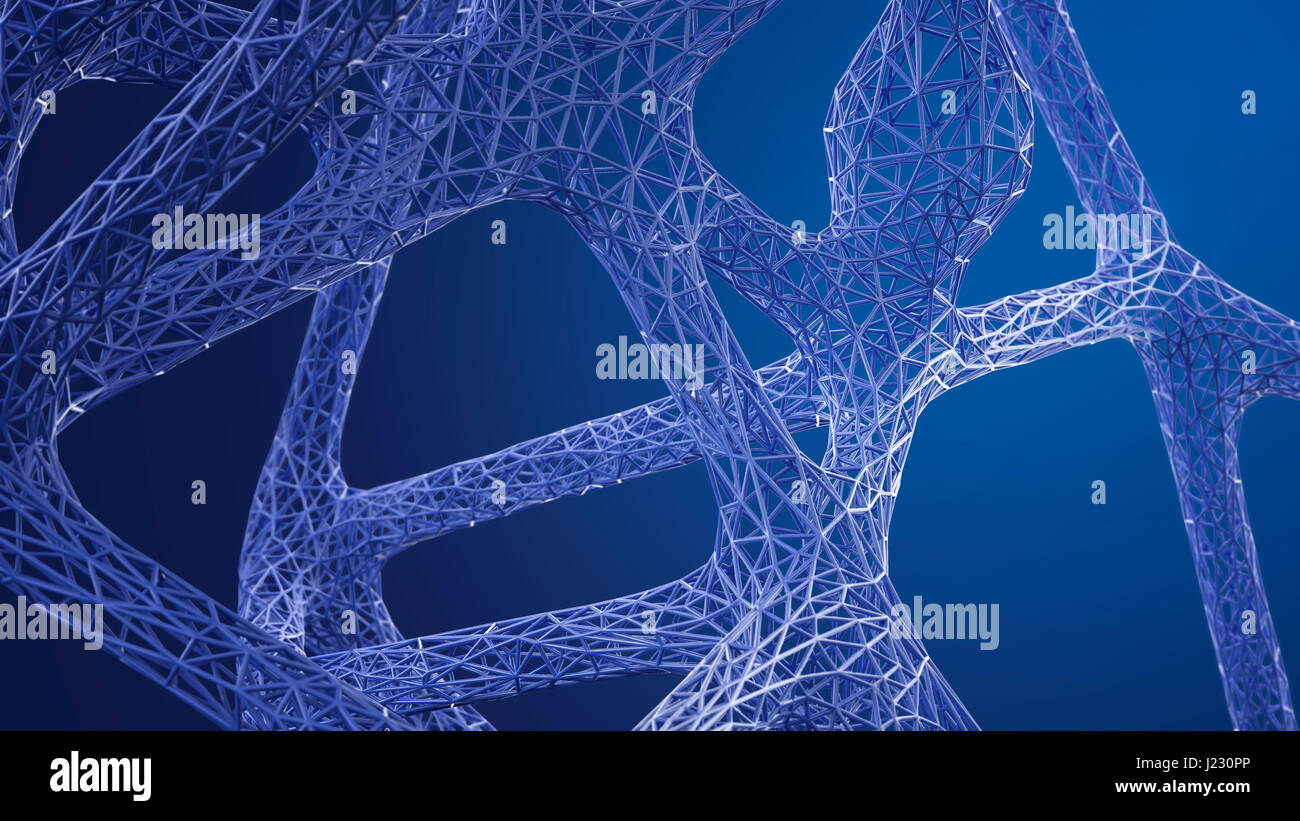 Abstract organic grid structure in blue, 3d rendering - Stock Image