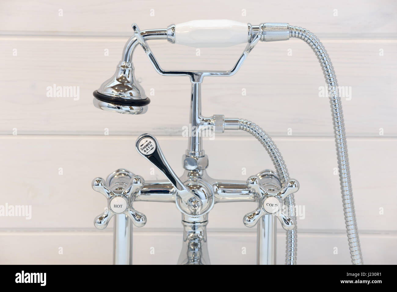 Vintage Bathtub Faucet And Shower Head Stock Photo 138978757 Alamy