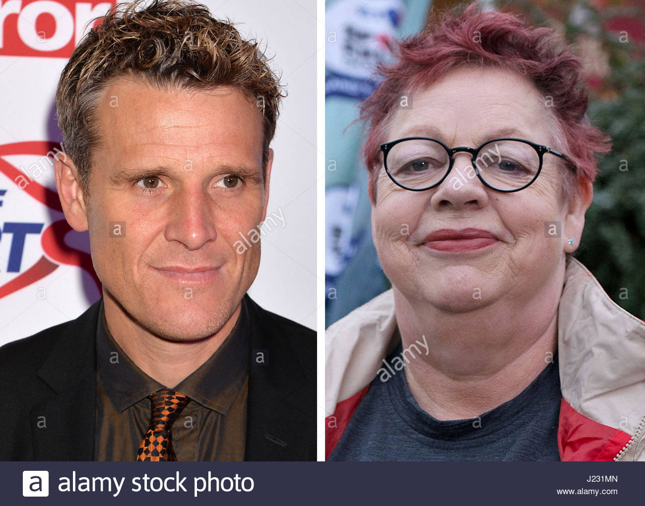 Undated file photos of James Cracknell and Jo Brand who are joining a host of famous names to unite in the fight - Stock Image