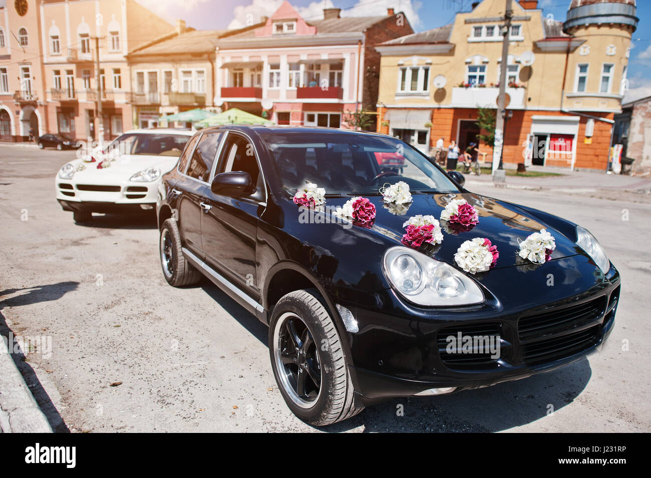 Elegant Wedding Cars With Decor On The Hood Stock Photo 138979562