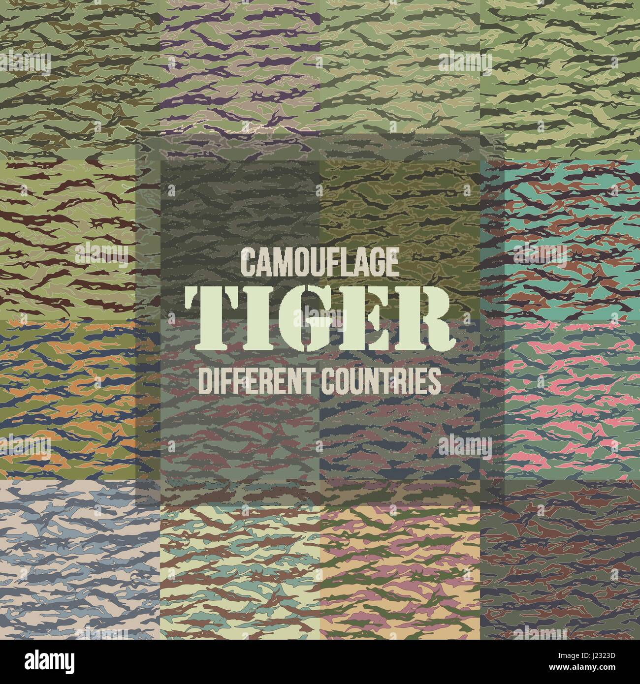 Tiger stripe Camouflage seamless patterns of different countries. Vector Illustration. Stock Vector