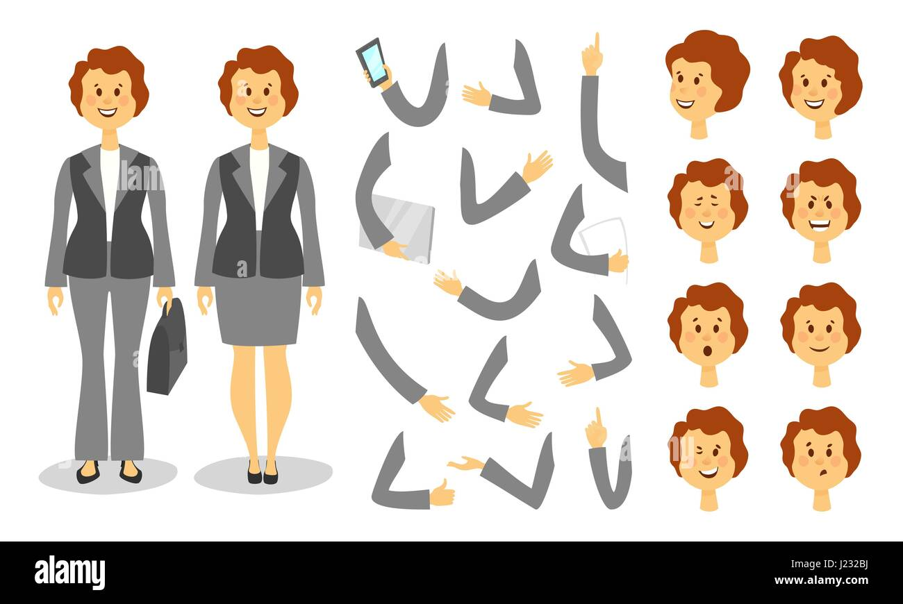 Businesswoman character creation set. Icons with different types of faces and hair style, emotions, front, rear, - Stock Vector
