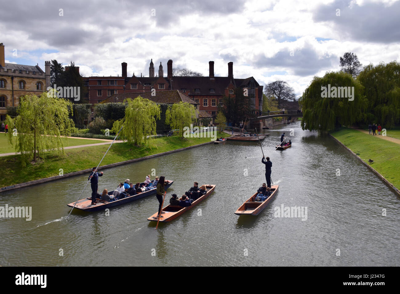 Punting on River Cam, Cambridge - Stock Image