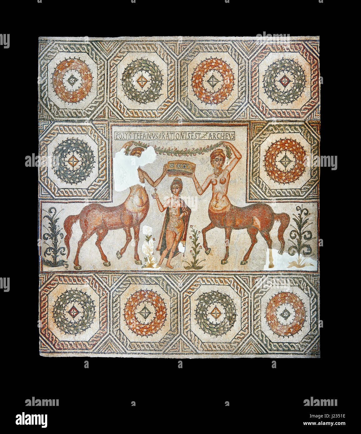4th century Roman mosaic panel of the Goddess Venus from Ulules (Elles). Venus or Aphrodite accompanied by 2 female - Stock Image