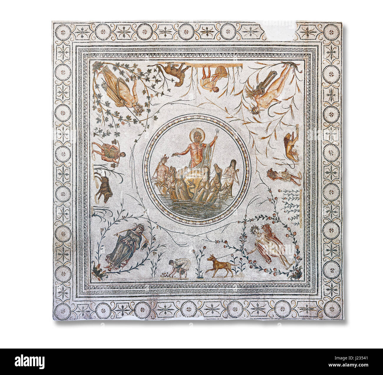 Roman mosaic panel of the Triumph of Neptune and  the mytrhical legend of The Four Seasons. From Caput Vada (La - Stock Image