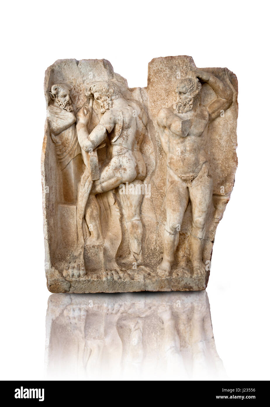 Photo of Roman relief sculpture, Aphrodisias, Turkey, Images of Roman art bas reliefs.  Herakles is preparing to - Stock Image