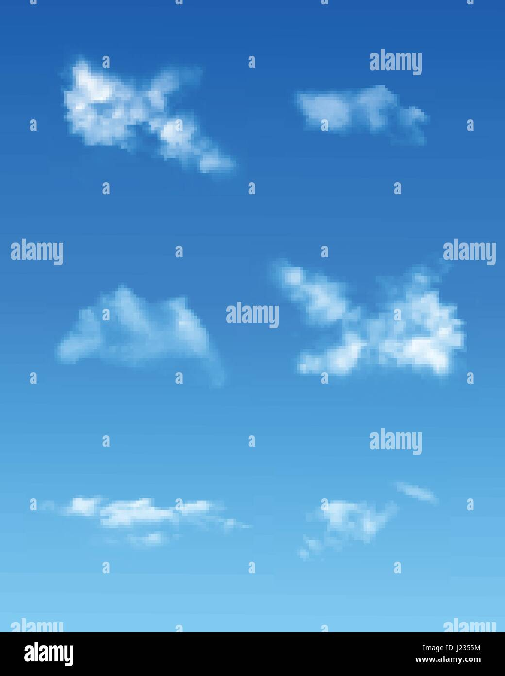 Set Of Realistic Transparent Clouds on blue backgrounds