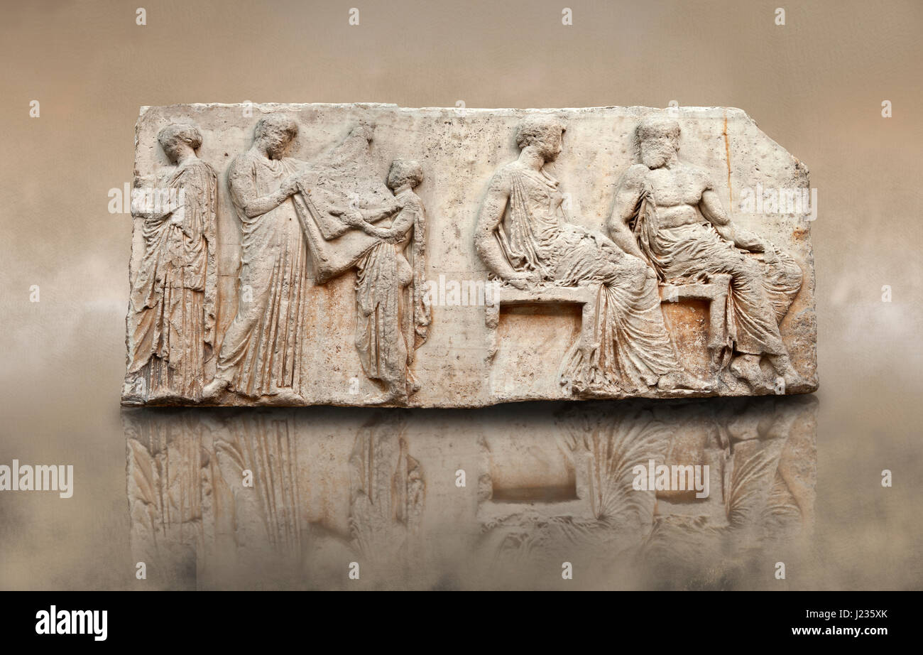 Marble Relief Sculptures from the east frieze around the Parthenon. Also known as the Elgin marbles. A British Museum Stock Photo