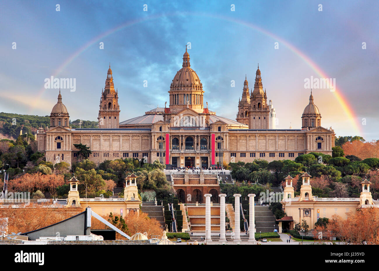 MNAC in Barcelona with rainbow - Stock Image
