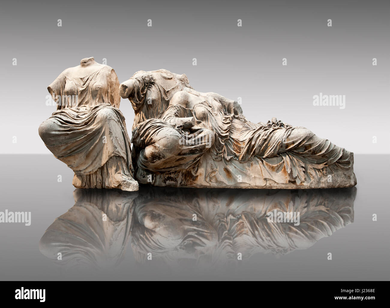 Figures from the East Pediment of the Parthenon, Acropolis Athens. From left to right cat no K possibly the goddess - Stock Image