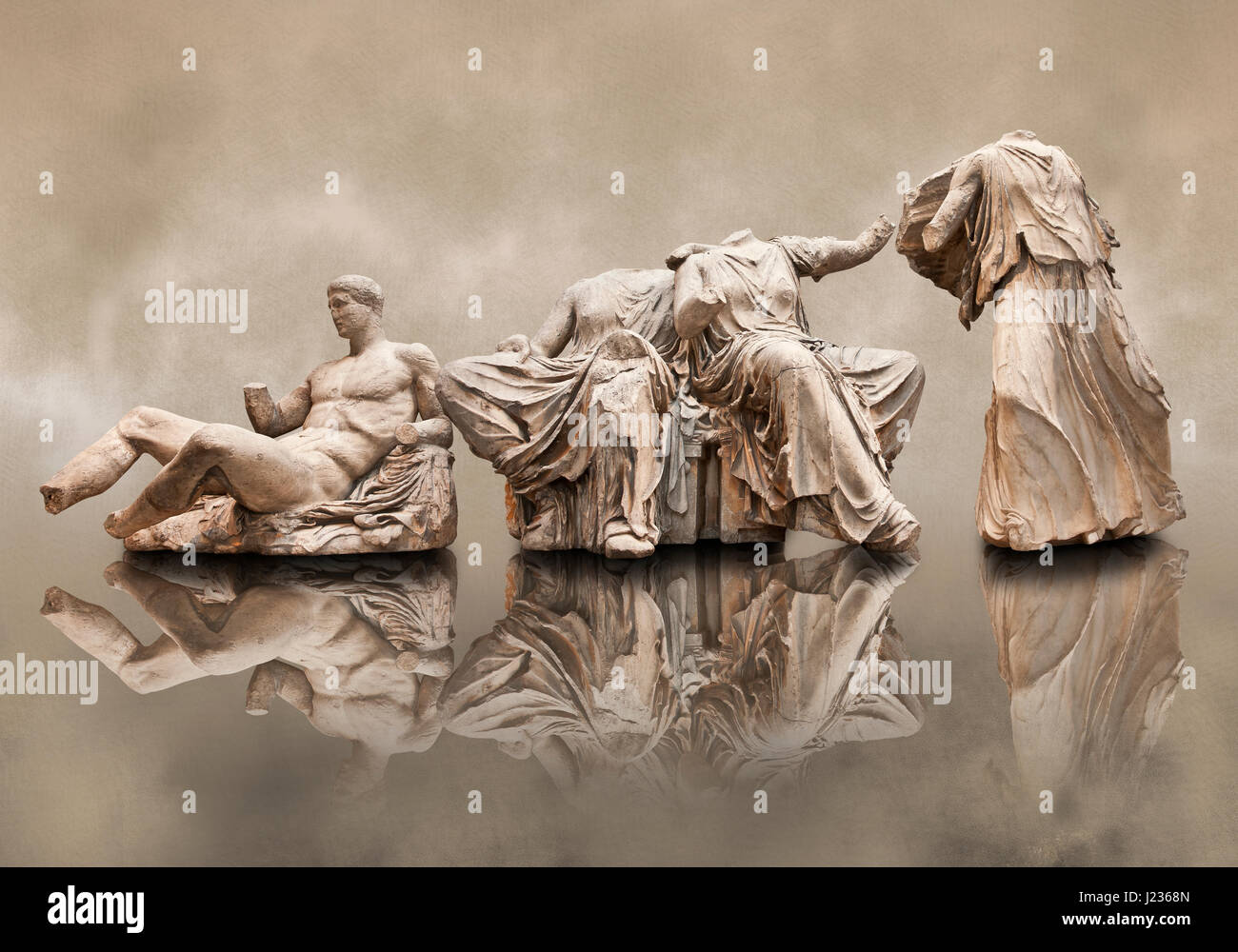 Figures from the East Pediment of the Parthenon, Acropolis Athens. From left to right cat no D Dionysos ,middle - Stock Image