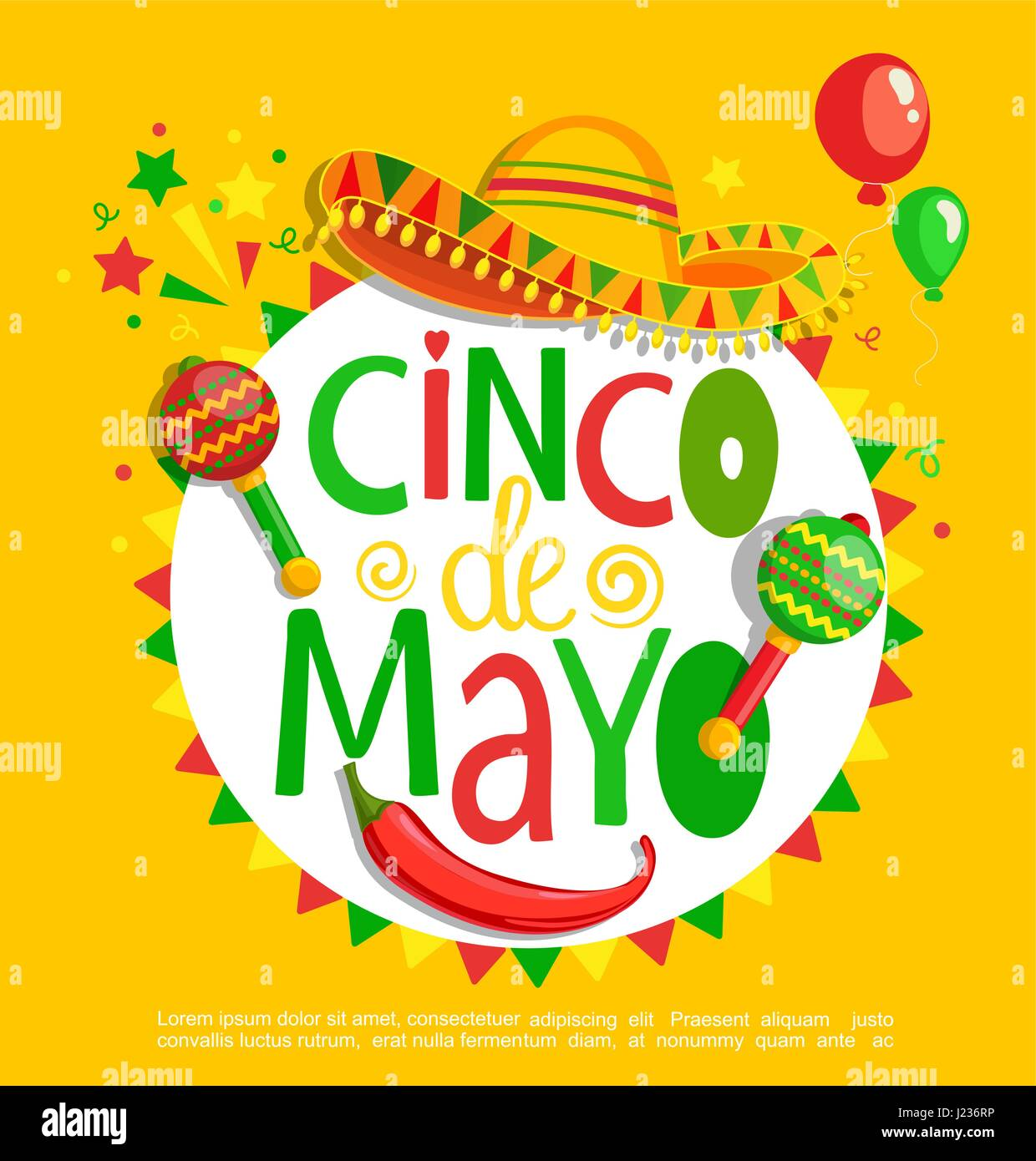 Cinco De Mayo Lettering On Holiday Background Poster Banner Greeting Card For Announcement Invitation And Party