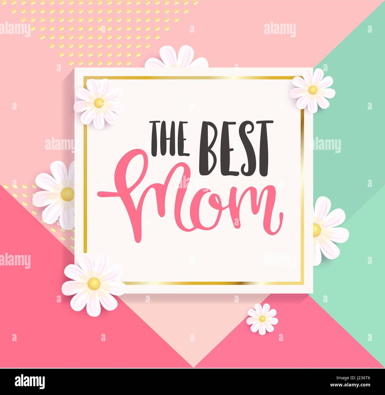 The best mom greeting card on colourful geometric background. Vector