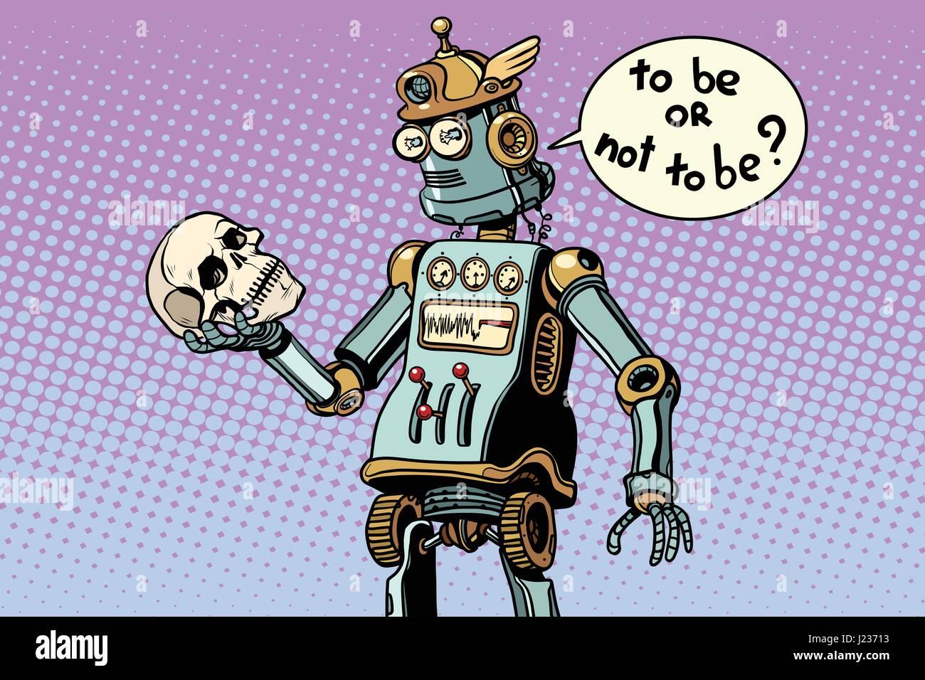 robots and humanity, a scene from hamlet. Pop art retro vector illustration - Stock Vector