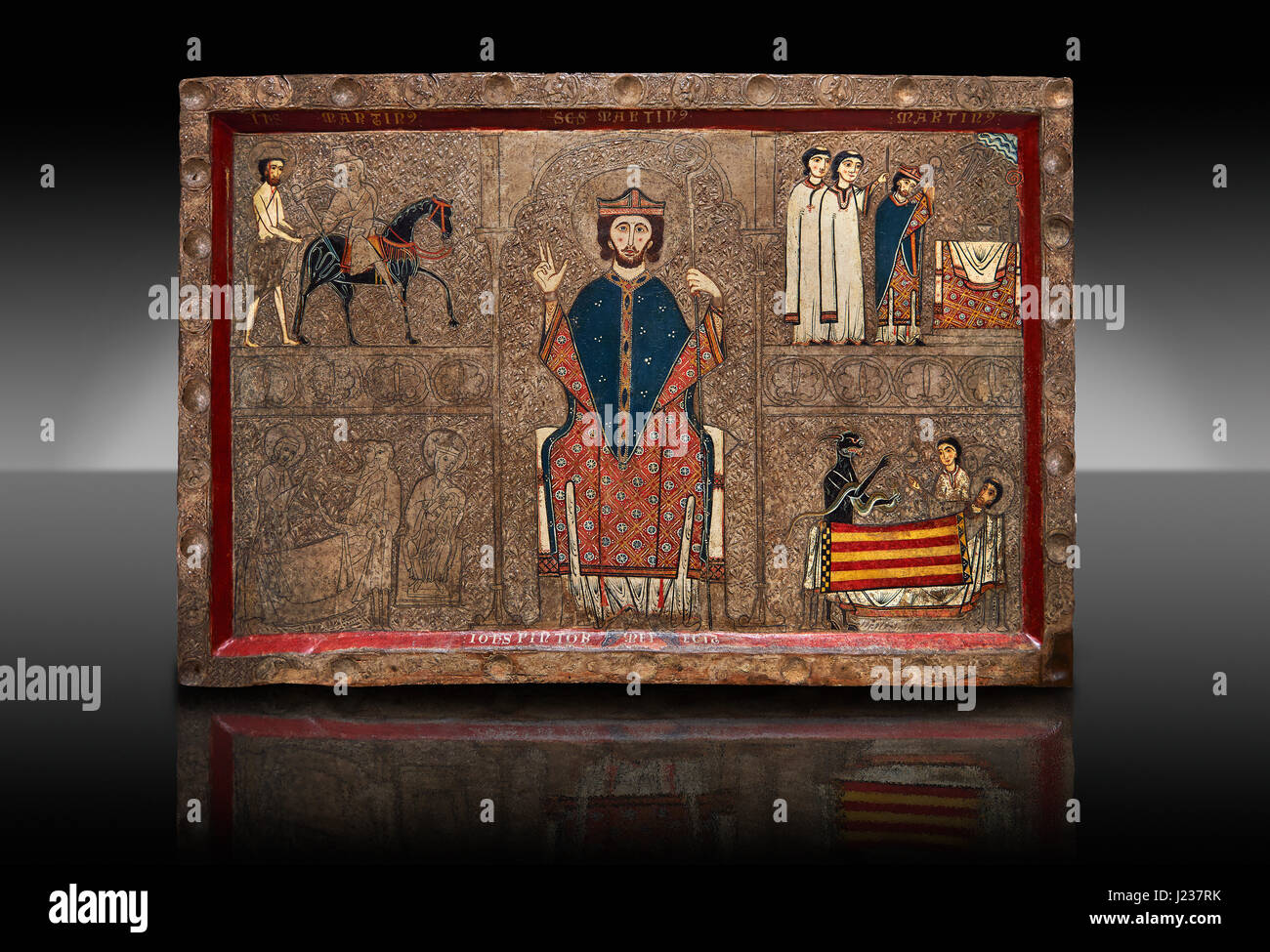 Romanesque painted Gia altar front, 13th century from the church of Santa Maria Gia and Xia, High Ribagorca, Huesca, - Stock Image